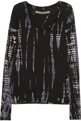 Enza Costa Printed Cashmere And Cotton Blend Top Black