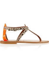 K Jacques St Tropez Buffon Patent Leather And Calf Hair Sandals Orange
