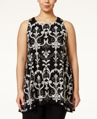 Alfani Plus Size Embroidered Handkerchief Hem Tank Top Only At Macy's Deep Black