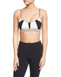 Alo Yoga Trace 2 Colorblock Sports Bra White Black Gravel White Blk Gravel