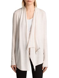 Allsaints Drina Ribbed Cardigan Almond Pink Marl