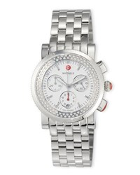 Michele Sport Sail Stainless Steel Chronograph Watch With Diamonds Silver