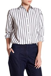 Canvas By Lands' End Striped Boyfriend Shirt Blue
