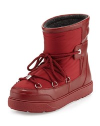 Moncler Fanny Matte Nylon Lace Up Boot Dk Red