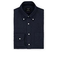 Fairfax Herringbone Cotton Wool Dress Shirt Navy