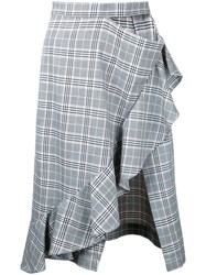 Gwen Salakaia Checked Asymmetric Skirt Women Cotton Polyester 4 Grey