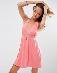 Asos Jersey Ruched Halter Mini Beach Dress Coral Orange