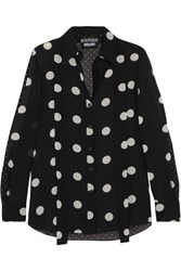 Boutique Moschino Polka Dot Silk Chiffon Shirt Black