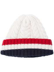 Thom Browne Cable Knit Beanie Women Cashmere One Size White