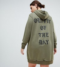 Zizzi Hooded Sweat Dress With Gothic Print Dusty Olive Green