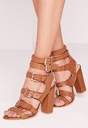 Missguided Buckled Block Heel Gladiator Sandals Tan Brown
