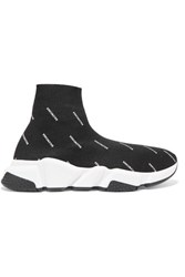 Balenciaga Speed Logo Printed Stretch Knit High Top Sneakers Black