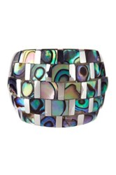Candela Sterling Silver Checkerboard Abalone Ring Multi