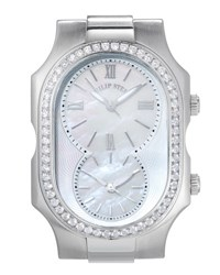 Philip Stein Teslar Large Signature Dual Time Zone Watch Head W Diamonds Silver