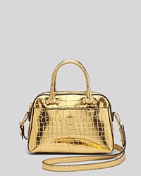 Milly Crossbody Gold Croc Embossed Small Satchel