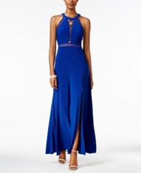 Nightway Petite Lace Up Illusion Halter Gown Cobalt