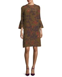 Lafayette 148 New York Sidra Bell Sleeve Garden Floral Silk Dress Sequoia Multi