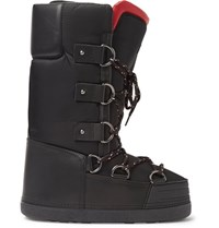 Moncler Leather Trimmed Shell Snow Boots Black