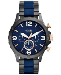 Fossil Men's Chronograph Nate Blue Silicone And Black Ion Plated Stainless Steel Bracelet Watch 50Mm Jr1494