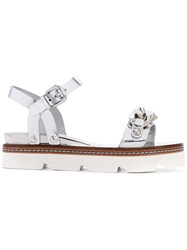 Casadei Embellished Sandals Women Calf Leather Kid Leather Rubber 39 Metallic