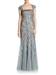 Adrianna Papell Beaded Portrait Collar Gown Slate