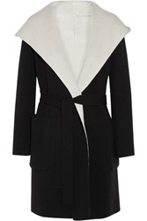 Max Mara Reversible Hooded Wool Coat Black