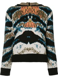 Baja East Printed Hooded Top Blue