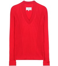Maison Martin Margiela Knitted Wool Sweater Red