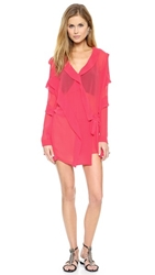 Just Cavalli Coral Ruffle Dress Magenta