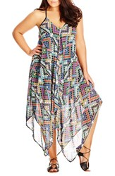 Plus Size Women's City Chic 'Prism' Print Handkerchief Hem Maxi Dress