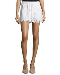 Neiman Marcus Crochet Trim Drawstring Shorts White