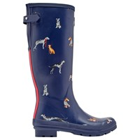 Joules Dog Printed Adjustable Waterproof Wellington Boots Navy