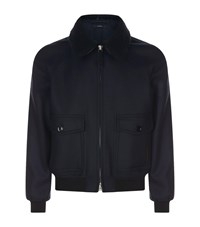 Tom Ford Wool Aviator Jacket Blue