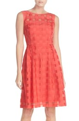 Women's Ellen Tracy Windowpane Check Fit And Flare Dress Coral