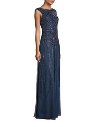 Aidan Mattox Cap Sleeve Beaded Gown Riviera
