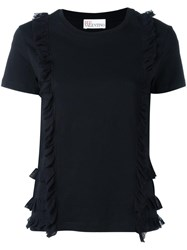 Red Valentino Frill Detail T Shirt Black