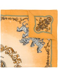 Hermes Vintage Cashmere Horses Print Scarf Yellow And Orange