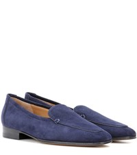 The Row Adam Suede Moccasins Blue