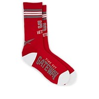 Vetements Authorization Required Cotton Blend Mid Calf Socks Red