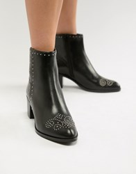 c23d6471edd London Queenies Black Leather Studded Mid Heel Ankle Boots Black Leather