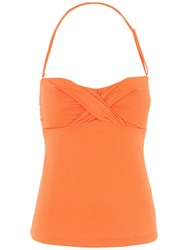 Fat Face Textured Twist Front Tankini Top Orange