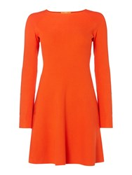 Hugo Boss Iesibell Long Sleeve Fit And Flare Dress Red