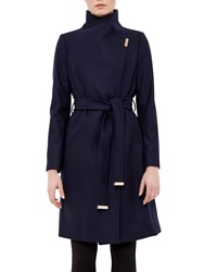 Ted Baker Fylio Long Wrap Coat Navy