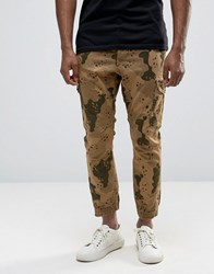 Asos Tapered Joggers With Camo Design In Stone Stone