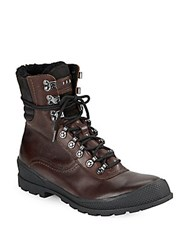 John Varvatos Shearling Lined Leather Hiking Boots Mocha