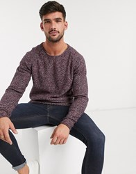 Selected Homme Textured Lightweight Knitted Jumper In Red Navy