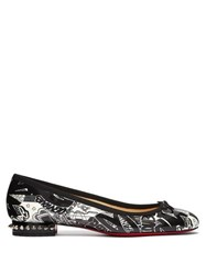 Christian Louboutin La Massine Graffiti Pattern Ballet Flats Black White
