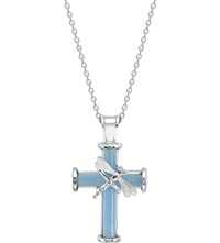 Theo Fennell Sterling Silver And Blue Jade Dragonfly Cross Pendant