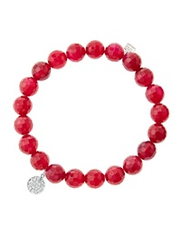 Sydney Evan 8Mm Faceted Red Agate Beaded Bracelet With Mini White Gold Pave Diamond Disc Charm Made To Order