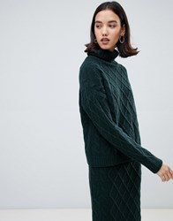 Selected Chunky Knit Roll Neck Jumper Green